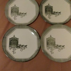 Vintage Green And White Horse And Buggy plates